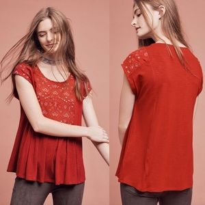 AMEMI + KIN ANTHROPOLOGIE ARCANA EMBROIDERED TOP